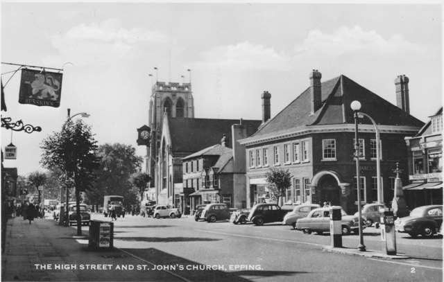 183 Epping High Street and St Johns Post Card Cottis White Lion Pub 1960s ESA3