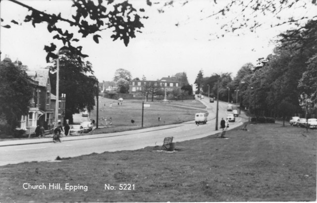 Church Hill Epping 1960s no. 5221Showing numbers 1 3 5 7 and Dane Lodge  processed by Fitzwilliams Ilford postcard ESA14