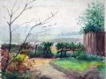 Rowena Drummond 1964 water colour The gap in the hedge view over Theydon Bois  from  Piercing Hill ESA26
