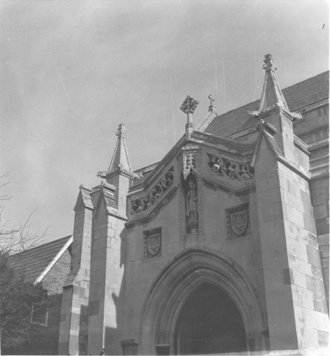 St John The Baptist Epping above entrance 16April1979 taken by E G Lewis ESA19
