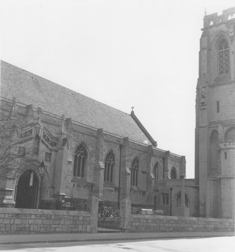 St John The Baptist Epping entrance 16April1979 taken by E G Lewis ESA20