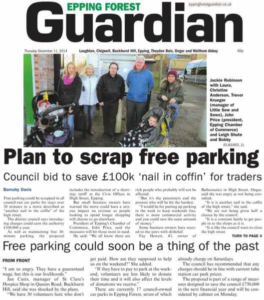Epping Forest Guardian 11 December Plan to scrap free parking