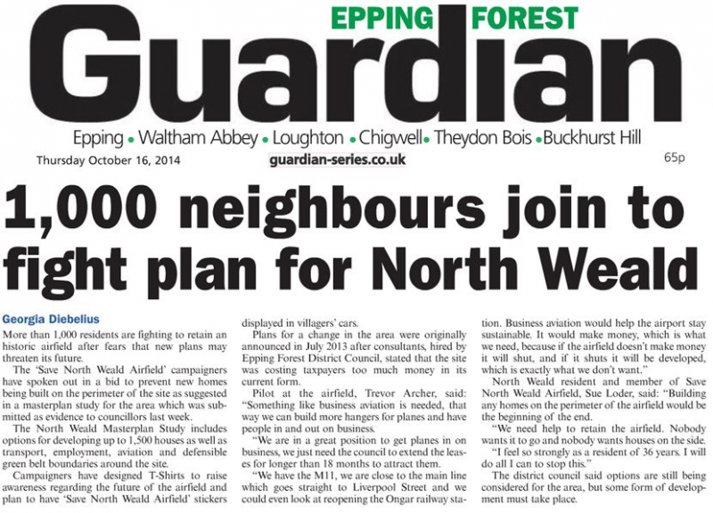 Epping Forest Guardian 16 October 2014 neighbours join to fight plan for North Weald