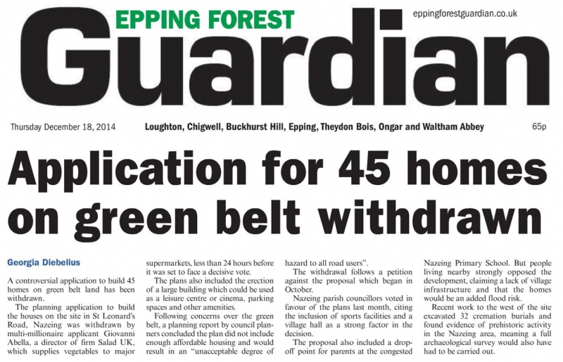 Epping Forest Guardian 18 December Application for 45 homes on Green Belt withdrawn