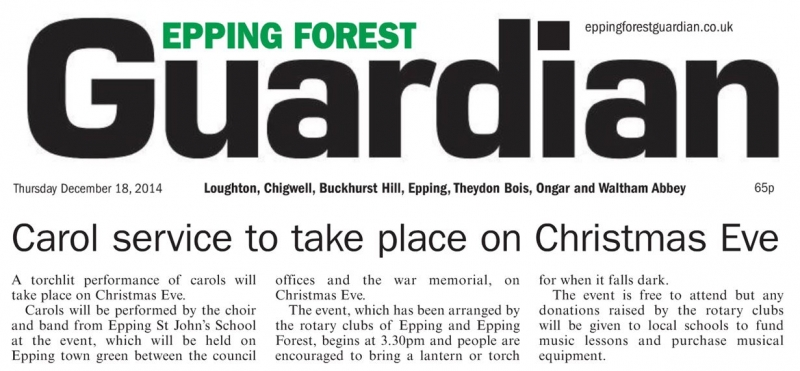 Epping Forest Guardian 18 December Carol service to take place on Christmas Eve