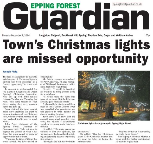 Epping Forest Guardian 4 December 2014 Towns Christmas lights are missed opportunity