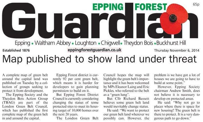 Epping Forest Guardian 6 November 2014 Map published to show land under threat