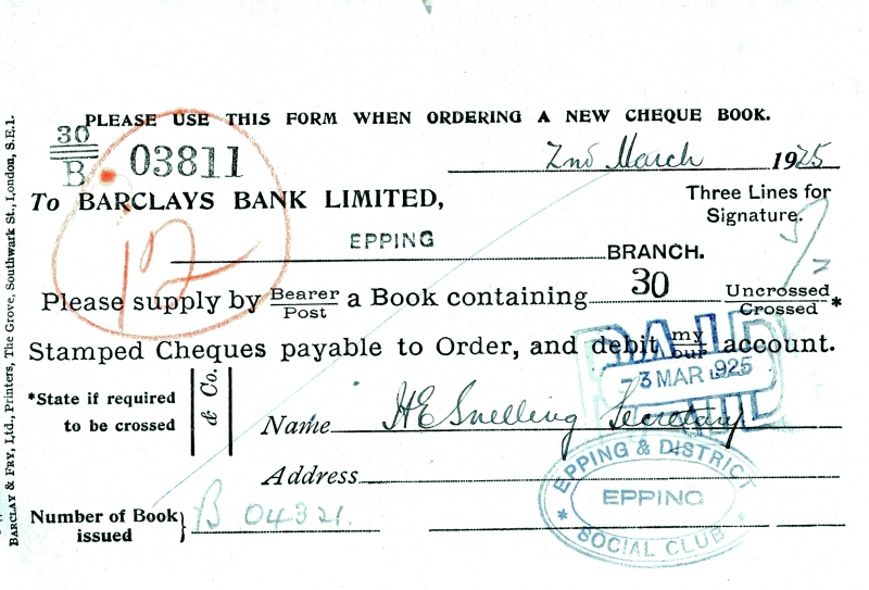 Barclays bank cheque order 1925 to 1934 001