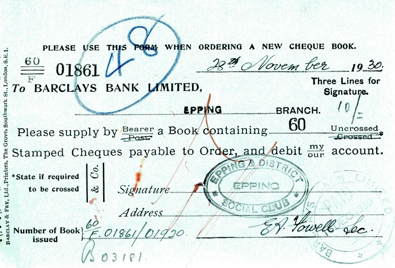 Barclays bank cheque order 1925 to 1934 002