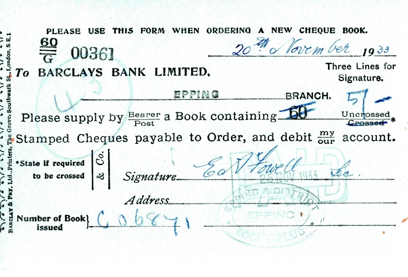 Barclays bank cheque order 1925 to 1934 003