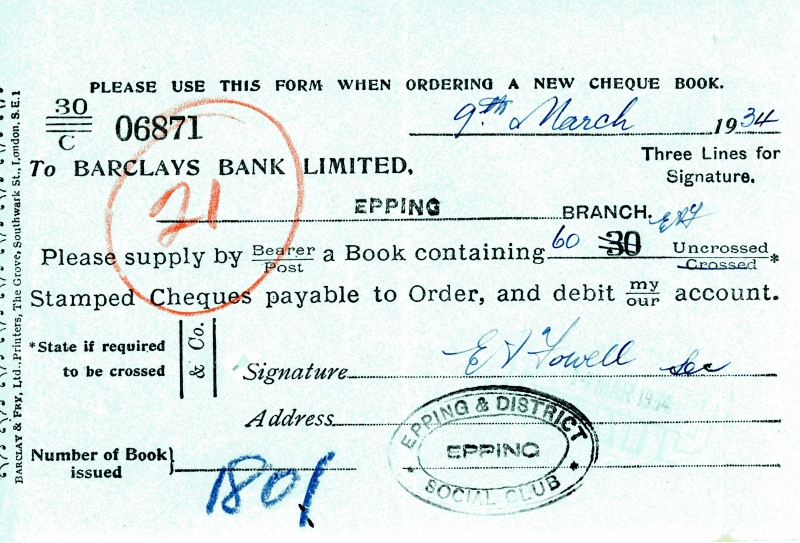 Barclays bank cheque order 1925 to 1934 004