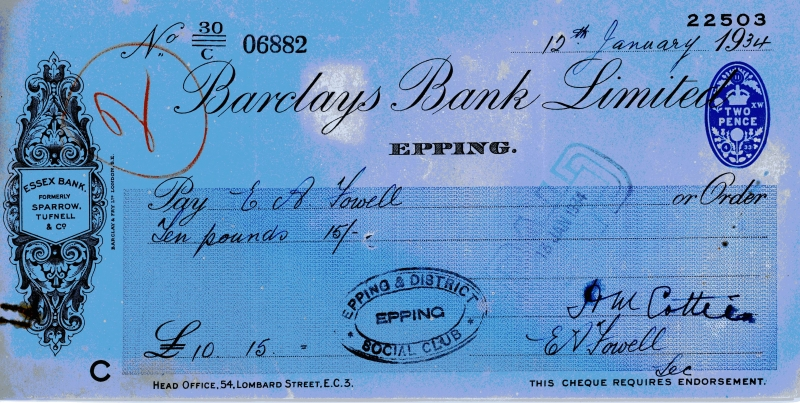 Barclays bank cheques 12 Jan 1934001