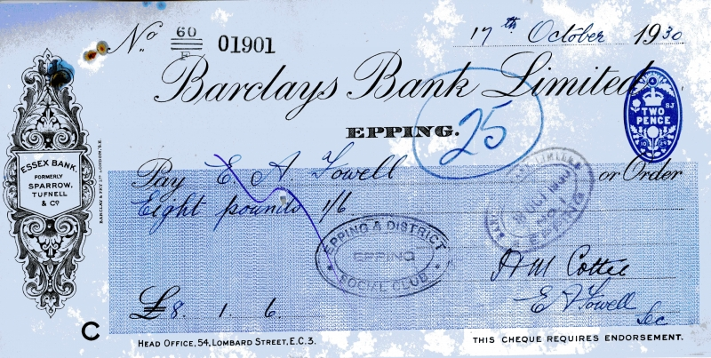 Barclays bank cheques 17 Oct 1930001