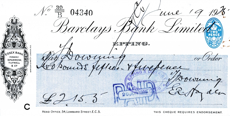 Barclays bank cheques 19 June 1925001