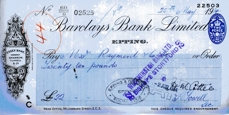 Barclays bank cheques 25 May 1934001