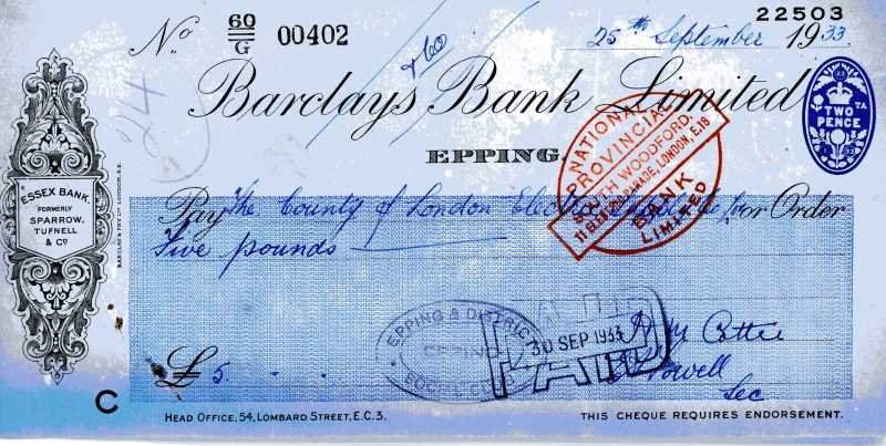 Barclays bank cheques 25 Sept 1933001