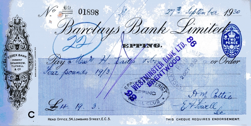 Barclays bank cheques 27 Sept 1930001