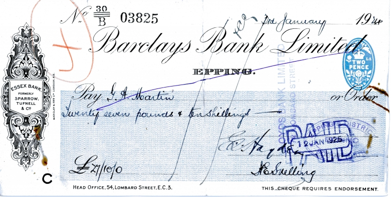 Barclays bank cheques 3Jan1924 wrong year 1925 001
