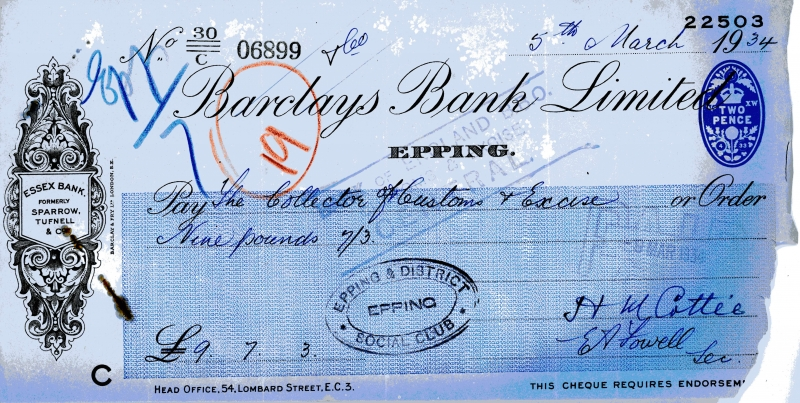 Barclays bank cheques 5 March 1934001