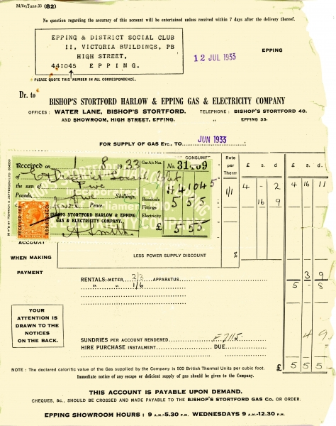 Bishops Stortford Harlow _ Epping Gas _ Electric Company 12 July 1933001