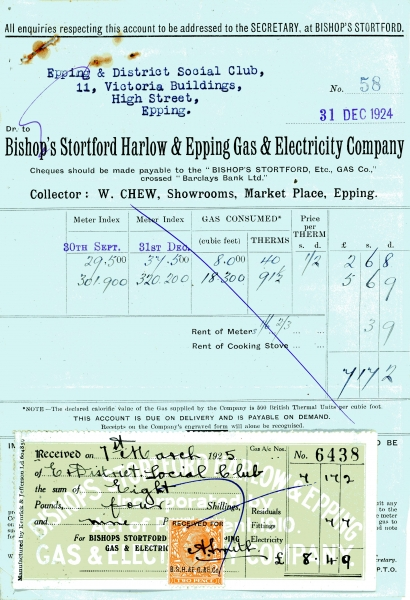 Bishops Stortford Harlow _ Epping Gas _ Electric Company 31Dec1924002