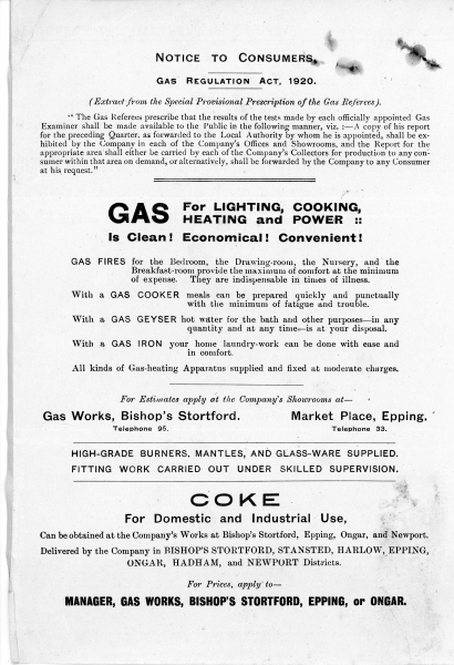 Bishops Stortford Harlow _ Epping Gas _ Electric Company 31Dec1924003