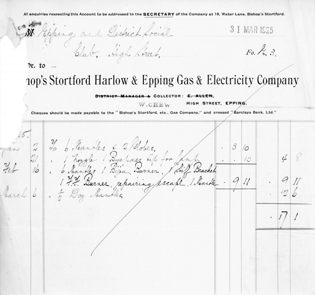 Bishops Stortford Harlow _ Epping Gas _ Electric Company 31March1925001
