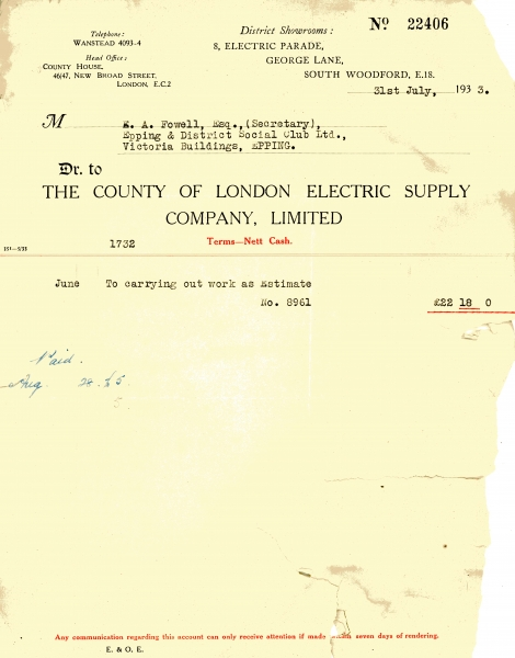 County of London Electric Supply Company Limited 31 July 1933001
