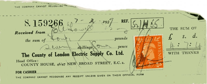 County of London Electric Supply Company Limited receipt 7 Aug 1939001