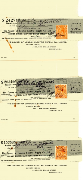 County of London Electric Supply Company Limited receipts 1933001