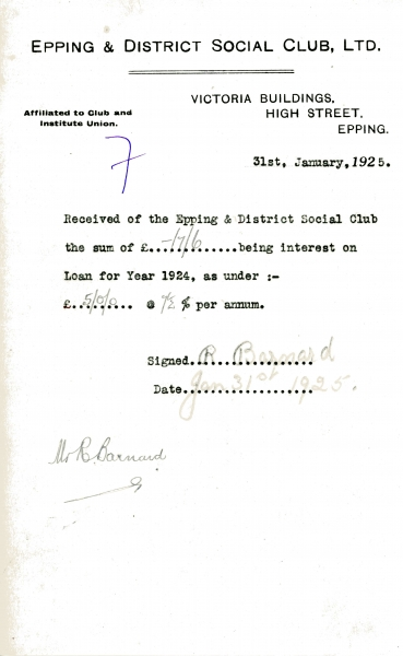 Epping _ District Social Club Ltd Loan interest 31 January 1925 Barnard 009