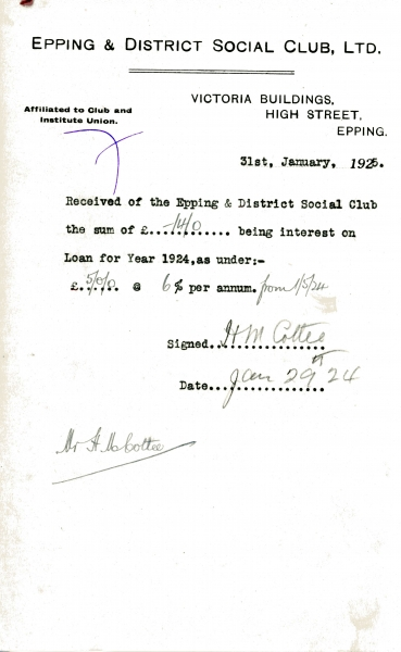 Epping _ District Social Club Ltd Loan interest 31 January 1925 Cottee 013