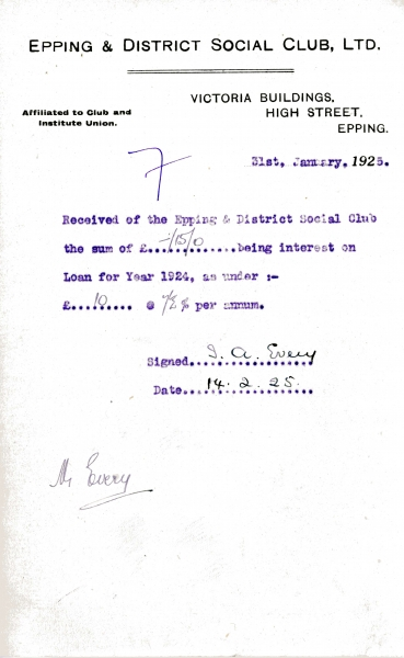 Epping _ District Social Club Ltd Loan interest 31 January 1925 Every 001
