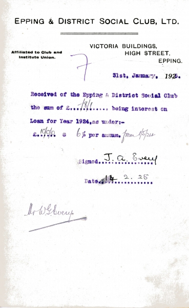 Epping _ District Social Club Ltd Loan interest 31 January 1925 Every 002