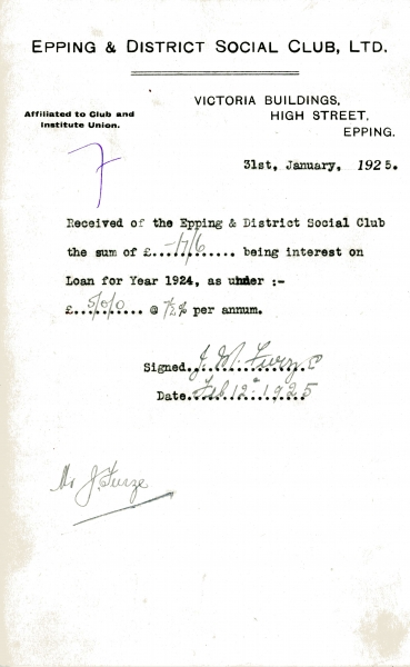 Epping _ District Social Club Ltd Loan interest 31 January 1925 Furze 004
