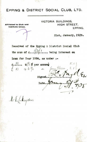 Epping _ District Social Club Ltd Loan interest 31 January 1925 Hayden 006