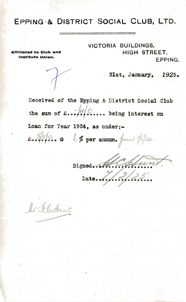 Epping _ District Social Club Ltd Loan interest 31 January 1925 Hunt 005
