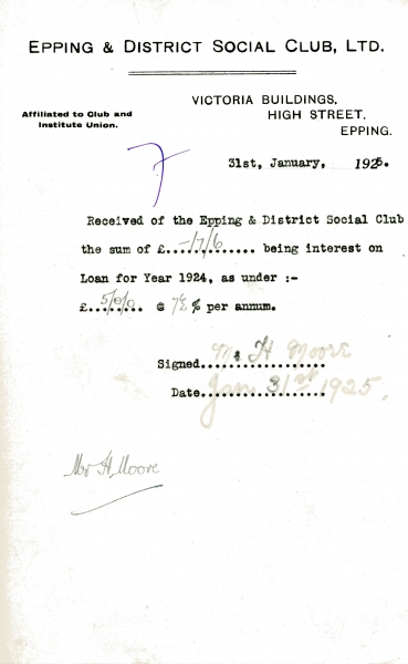 Epping _ District Social Club Ltd Loan interest 31 January 1925 Moore 008