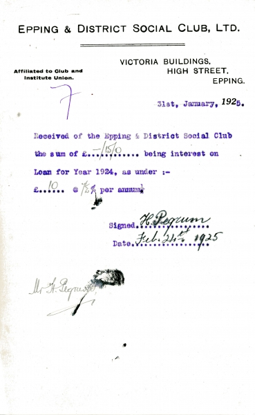 Epping _ District Social Club Ltd Loan interest 31 January 1925 Pegrum 015