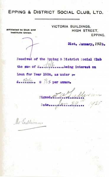 Epping _ District Social Club Ltd Loan interest 31 January 1925 Sullivan 012