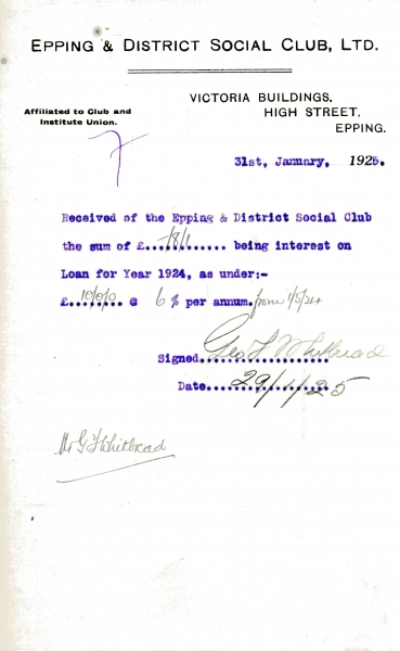 Epping _ District Social Club Ltd Loan interest 31 January 1925 Whitbread 010