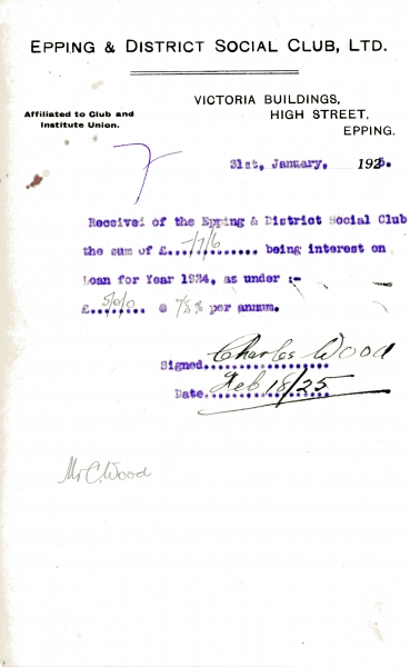 Epping _ District Social Club Ltd Loan interest 31 January 1925 Wood 016