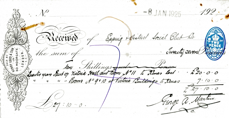 Epping _ District Social Club Rent to George A Martin 8 Jan 1925001