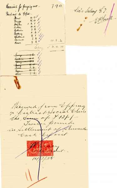 Epping _ District Social Club misc receipts 1925 002