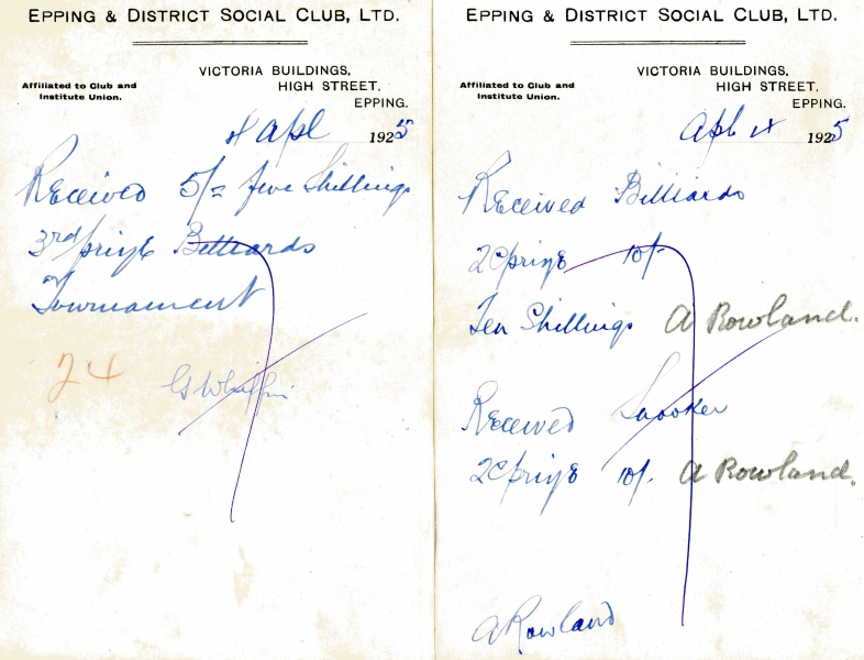 Epping _ District Social Club misc receipts 1925 003