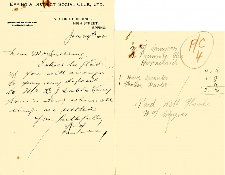 Epping _ District Social Club misc receipts 1925 004