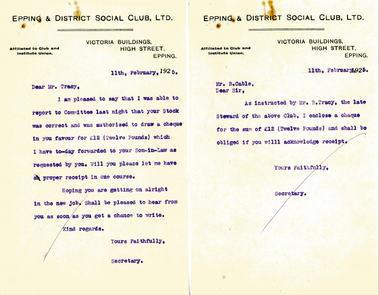 Epping _ District Social Club misc receipts 1925 005