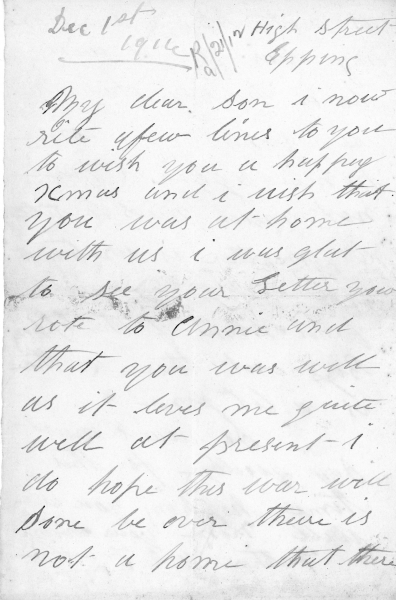 Fowell Ernest Arthur 1895-1992 letter receive Dec 1916 in army001