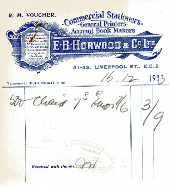 Horwood E B _ Co 16 Dec 1933 001