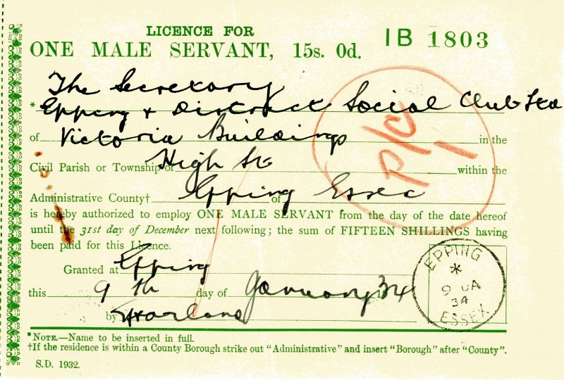 Licence - One male Servant 9 Jan 1934 002